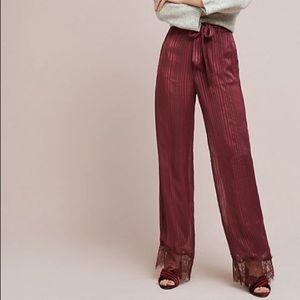 Laced-Hem Wide Leg Pants